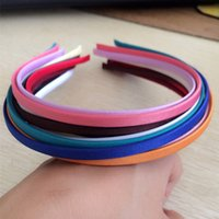 Wholesale Metal Headband Mixed - On Sale Wholesale Mixed color New STYLE Satin Covered Metal Headband Wide 5mm 100pcs lot