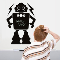 Wholesale Kid Robot Decal - Black Robot Wall Stickers Chalkboard Wall Decal for Kids Boys Girls Room Decor Message Blackboard Nursery Decorative Wallpaper Poster Mural