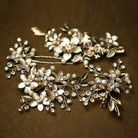 Wholesale imitation pearl jewelry sets online - beijia Charming Gold Floral Wedding Accessories Pearl Hair Jewelry Handmade Bridal Clip Pins Set Headpiece