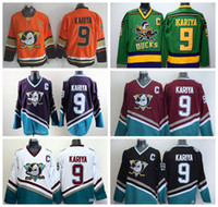 Wholesale Full Movies - Throwback 9 Paul Kariya Jersey Sport Anaheim Ducks Stadium Series 1993 Mighty Ducks Movie Green Mighty Purple Red Black White Orange Black