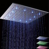 ingrosso la luce del soffitto del nickel spazzolata-Soffione doccia a soffitto con soffione a pioggia da 20 pollici in acciaio inox satinato da 20 pollici a LED