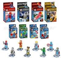 Wholesale Crystal Building Models - Crystal Super Heroes Minifigures 8pcs lot Frozen Marvel Avengers Batman Ironman Building Blocks Sets Model Legoe Compatible Toys
