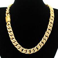 Wholesale White Tennis Necklace - Goofan fashion cross-border 15mm Europe and men six hot mill chain leading Cuban buckle Necklace&Bracelet