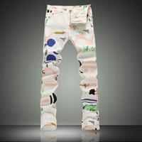 Wholesale Spandex Hot Pants Plus Size - Wholesale-Hot Sale Printed Jeans Men Fashion Brand White Biker Jeans 2016 New Designer Elastic Skinny Jeans High Quality Denim Pants