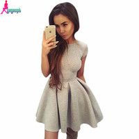 Wholesale Lace Skater Dress Sleeves - Wholesale-Gagaopt 2016 Sexy Backless Autumn Dress Lace Up Short Party Dress Casual Women Skater Dress Robe Vestidos D0391