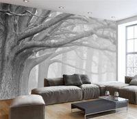 Hot selling 3D wallpaper living room bedroom murals modern black and white forest tree art TV wall murals wallpaper for walls 3 d