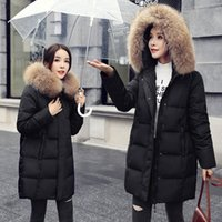 Wholesale Plus Size Warm Tops Womens - 5XL 6XL Womens Duck Down Jackets Coats Real Raccoon Fur Hoodies Down Parkas Warm Thick Outwear Tops Plus Size 2017 High Quality