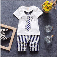 Wholesale Kids Zipper Ties Wholesale - 2016 Summer Baby Boys Clothing Sets Kids Short Sleeve Tie Printed T-shirt+Striped Pants 2pcs Children Outfits Handsome Boy clothes Suit