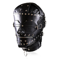 Wholesale Leather BDSM Bondage Mask SM Totally Enclosed Head Hood Restraint Gear Adult Sex Game Sex Toys For Couples