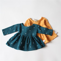 Wholesale Round Neck Long Sleeve Dresses - INS autumn NEW arrival Girls Kids long Sleeve o-neck lace hollow out dress kids causal 100% cotton girl fall elegant casual dress