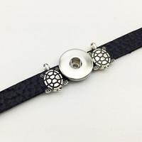 Wholesale Tortoise Charm Gold - Fashion New Sale One Direction Jewelry Bracelets For Women Tortoise Retro Leather Snap Button Bracelet Bt614 (fit 18mm 20mm Snaps) party dre