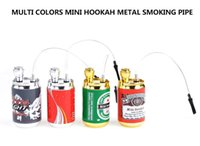 Top Rated Multi Colors Bouteille de métal Coke Cans Hookah Pipe Herbe Pipe Portable Tabac Smoking Pipes Smoke Grinder Smoking Set