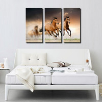 3 Picture Combination Wall Art Painting Running Wild Horse Brown Cavalos Galloping Paintings The Picture For Home Decoration