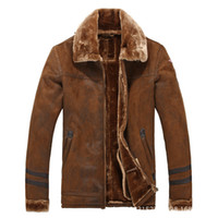 Wholesale Mens Pilot Jacket Fur - Wholesale- Uwback Suede Leather Jacket With Fur Men Pilot Leather Jackets Men Winter Warm Thick Pilots Coats Mens Loose Windbreaker CAA313