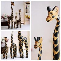 wooden Carved As picture 3PC Set Vintage Nordic Log Craft Gift Giraffe Hand-Painted Animal Wooden Ornaments Home Decoration Wood Art Printing Craft Wood Toy YYA286