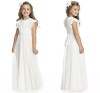 Wholesale Cheapest Birthday Pink Purple - Cheapest Ivory Chiffon A Line Flower Girl Dresses Jewel Neck Capped Sleeves Floor Length Formal Party Wear First Communion Gown