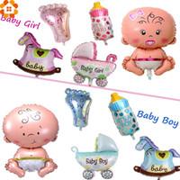 kız duş hediye toptan satış-5 Adet / takım BoyGirl Birhtday Parti Balonlar Folyo Balonlar Oyuncaklar Çocuklar Doğum Günü Partisi Dekorasyon Bebek Duş Parti Malzemeleri Hediyeler