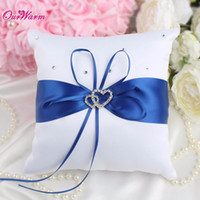 Wholesale Heart Textile - Many Color 20X 20Cm Double Heart Satin Ring Pillow With Rhinestone Diamond For Wedding Party Decoration Home Textile 1Pc
