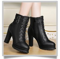 Wholesale Thick British Women - Thick boots with boots autumn and winter the new wave of British women Martin boots high heel boots women boots short boots