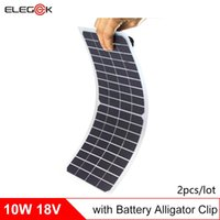 Wholesale Solar 18v - ELEGEEK 2pcs 10W 18V Semi-Flexible Transparent Solar Cell Panel PET Solar Cell with DC Output and Alligator Clip for Solar Project