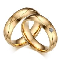 Wholesale Ring Wedding Pair Gold - 5 pairs per Lot Gold Couples Rings 316 Stainless Steel Rings High Polish CR-062