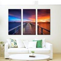 impressionistische malereien großhandel-3 Bild Kombination Wandkunst Sonnenuntergang Brücke Impressionist Seascape Bilder Drucken Gemälde auf Leinwand Wandkunst für Wohnkultur