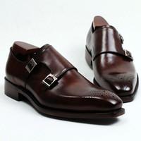 ingrosso scarpe di cuoio marrone per gli uomini-Scarpe da uomo Scarpe da monaco Scarpe artigianali su misura Vera pelle di vitello Colore cinturino marrone scuro fibbie doppie HD-247