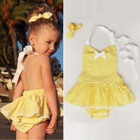 Wholesale Cheap Infant Rompers - cheap price hot selling baby girls rompers dresses outfits infant toddler lovely yellow vestidos white bow children bodysuits free shipping
