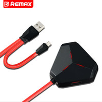 Compra Usb U3-Originale Remax RU-U3 Portatile 3 Hub USB Power Adapte Micro Porta USB Caricatore mobile da parete OTG con cavo dati LED Flash Light con scatola al minuto