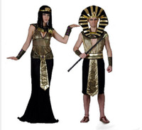 Wholesale Women Cleopatra Costume - Egyptian Pharaoh Costumes Halloween Party Adults Clothing Egyptian Pharaoh King Men women Fancy Dress Costume For Halloween Cleopatra