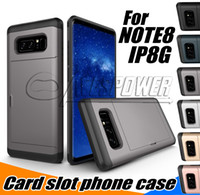 iphone slayt cüzdan toptan satış-Iphone x 8 7 için cüzdan kılıfları samsung s9 s8 note8 artı kılıfları ince kart yuvası koruyucu slayt case hibrid arka kapak