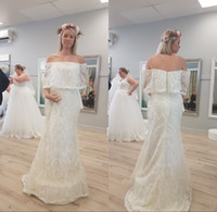 Wholesale Simple Drop Back Wedding Dress - 2018 Boho Lace Wedding Dresses Cheap Long Strapless Off Shoulder Zioper Back Bridal Gowns Custom Made