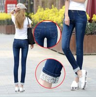 Wholesale Women Jeans Size 36 - Cotton blend Plus Size Women Casual Mid-waist Denim Jeans Korean Fashion Slim skinny Trousers Solid Color Long Pencil Pants Vestidos 25-36