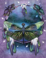 Wholesale Dragonfly Wall - DIY Diamond Painting Embroidery 5D Dragonfly Cross Stitch Crystal Square Home Bedroom Wall Art Decoration Decor Craft Gift