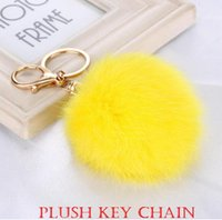 Plush Fashion Key Chain 8cm Pompon Lovely Hair Bulb Pendant Bag Pendentif voiture Hang Décorations Lady Accessoires Bea020