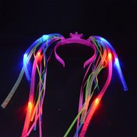 geburtstag mädchen blinkende lichter großhandel-2017 frau Mädchen Leuchten Zöpfe Crown Stirnband Flashing Hairband Haarschmuck Haarverlängerung Geburtstag Glow Party Supplies