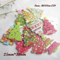boutons d'artisanat achat en gros de-Boutons décoratifs 50pcs mélangés arbres de Noël boutons en bois Noël accessoires décoratifs scrapbook artisanat bricolage matériaux