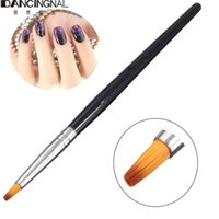 Wholesale Nail Art Pen Round - Wholesale-Professional 1Pc Acrylic Nail Art Wood Handle Salon Brush Round Top Painting Drawing UV Gel Salon Manicure Builder Design Pen
