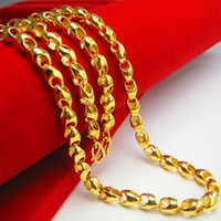 Wholesale Gold 18k 24k Chain - Don't rub off the Gold Necklace Mens 24K gold imitation imitation gold 18K gold wedding jewelry chain hollow thick long