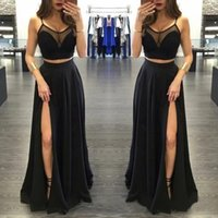 Wholesale Hot Sexy Teens - 2016 Hot Sell Two Pieces Prom Dresses Real Image Sexy Sheer Scoop Neck Spaghetti Stunning Black A-Line High Side Slit Teen Pageant Dress