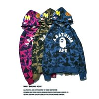 Wholesale Camouflage Jacket Men Winter - 2017 Cheap New winter Hoodie Men's A Bathing AAPE Ape Shark Hooded Hoodie Coat Camo Full Zip Jacket Camouflage Hoodies Hot