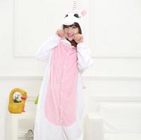 Wholesale Pink Animated - Anime Hoodie Adult Unicorn Pajamas Animal Pyjamas Men Women Animate Unicorn Costume Cosplay Blue Pink Unicorn Onesie