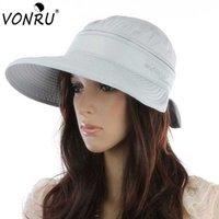 anti uv großen hut großhandel-Großhandels- Mode Sommer Hüte Bowknot Big Visor Cap 7 Farben Sonnenhut Chapeu Feminino Outdoor Anti-UV Sommer Hüte für Frauen 1MZ0759