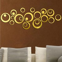 Wholesale Wall Decals Circles - 1 Set Sweet Circles Mirror Style Removable Decal Vinyl Art Wall Sticker Home Decor Fashionable Modern Design