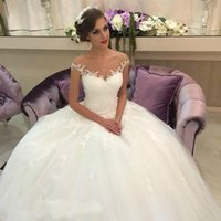 Wholesale Romantic Ball Gown Wedding Dresses - Free Shipping! Puffy White Ivory Ball gown lace tulle romantic wedding dress bridal gown dresses wedding vestidos de noiva 2017