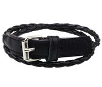 Wholesale Channel Belts - weave leather bracelet wristband fashion women men 2 layers rope buckle belt bracelets charm jewelry girl boy party Christmas gift