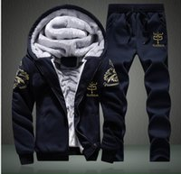 Wholesale Man Fleece Suit For Winter - Autumn Winter Thickened Fleece Men Sporting Suit Hooded Jacket+Pant Sweatsuit 2 Piece Set Tracksuit Set For Men