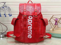 Wholesale Top Girls Backpack - Supremes XLV Red And Black Jiont Limited Backpack Leather Hottest Sale Women and Men Backpack Outdoor Bags Authentic Top Quality