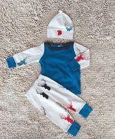 Wholesale Sleepwear T Shirts Cotton - 6styles Newborn Clothes Girls Boys Christmas outfit Deer house print Set Long Sleeve Cotton T shirt+Pants+Hat Baby Autumn Clothing sleepwear