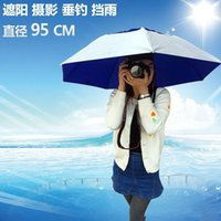 Wholesale Large Sun Shades Outdoor - Fordable SunShade Large Size Three-folding Umbrella Hat Cap Sun Shade Camping Fishing Hiking Festivals Outdoor Brolly Free Shipping